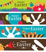 A vector illustration to show 4 sets Easter Banner designs.  - Eps 10 Format - Opacity and transparency effect
