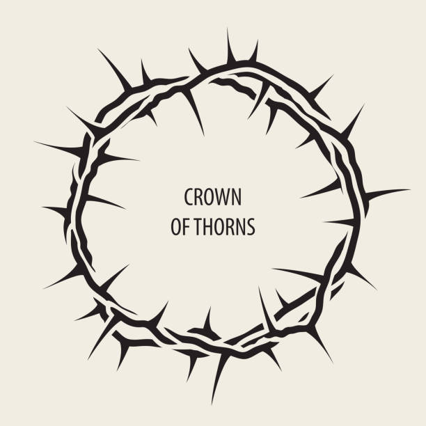 Easter banner with black crown of thorns Vector Easter banner with black crown of thorns and words sharp stock illustrations