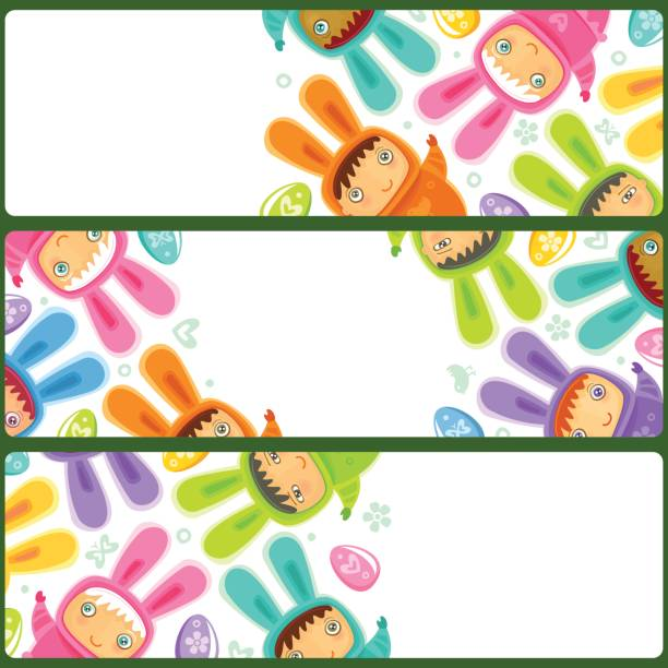 Easter Banner with egg hunting rabbit children vector art illustration