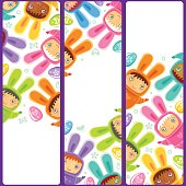 Easter set with vertical banners.  Cute Baby in costumes of bunnies with colorful Easter eggs plays Egg hunt and Celebrate holiday party. Vector illustration isolated on white background