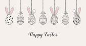 Easter banner with hanging eggs and funny bunnies. Vector