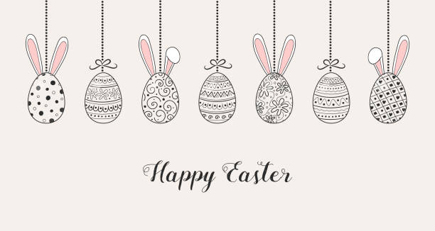Easter banner with hanging eggs and funny bunnies. Vector Easter banner with hanging eggs and funny bunnies. Vector easter stock illustrations