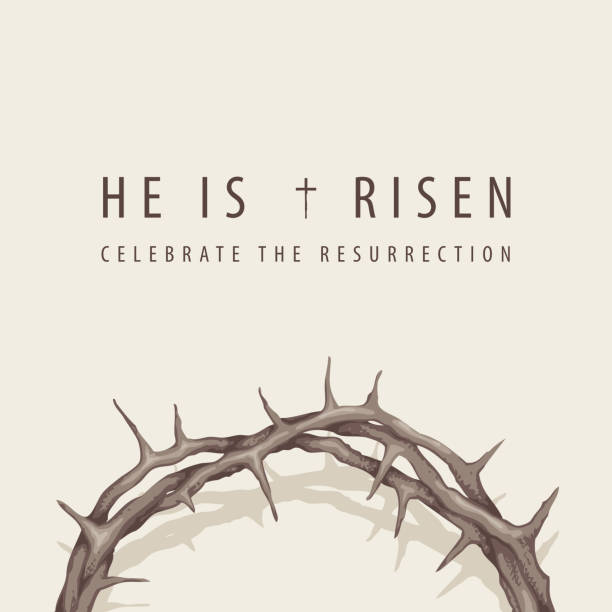 Easter banner with inscription and crown of thorns Vector religious banner or greeting card on the Easter theme with words He is risen, Celebrate the Resurrection, with a crown of thorns on a light background seven deadly sins stock illustrations