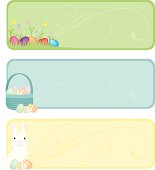 A selection of pastel colored Easter banners. Plenty of space for text. Extra large JPG and Illustrator 8 compatible EPS are included.