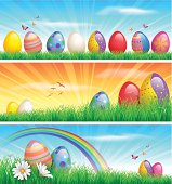 EPS 10 Vector illustration of Easter banners. Objects are grouped and layered. Used transparency and blending mode. Used clipping mask.