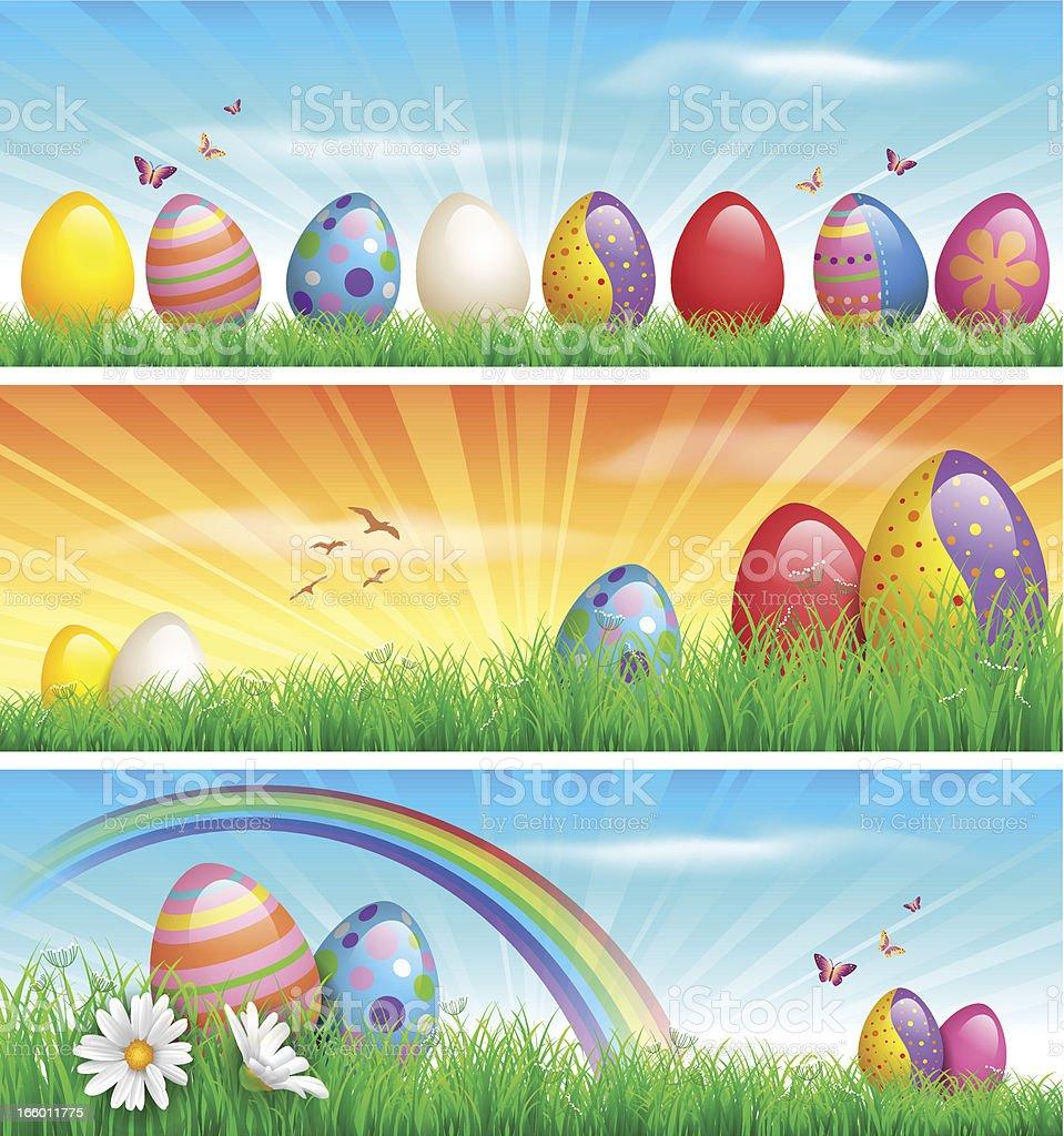 Easter banners vector art illustration