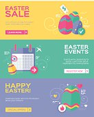 Flat design Easter banner set. Banners are available for an Easter sale, Easter events and general happy Easter message. Each banner includes easter egg elements and pastel colors. EPS 10 file. Transparency effects used on highlight elements.