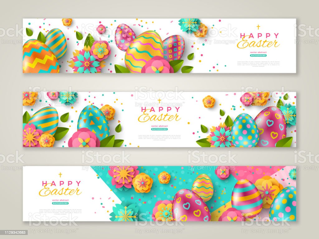Easter banners with ornate eggs vector art illustration