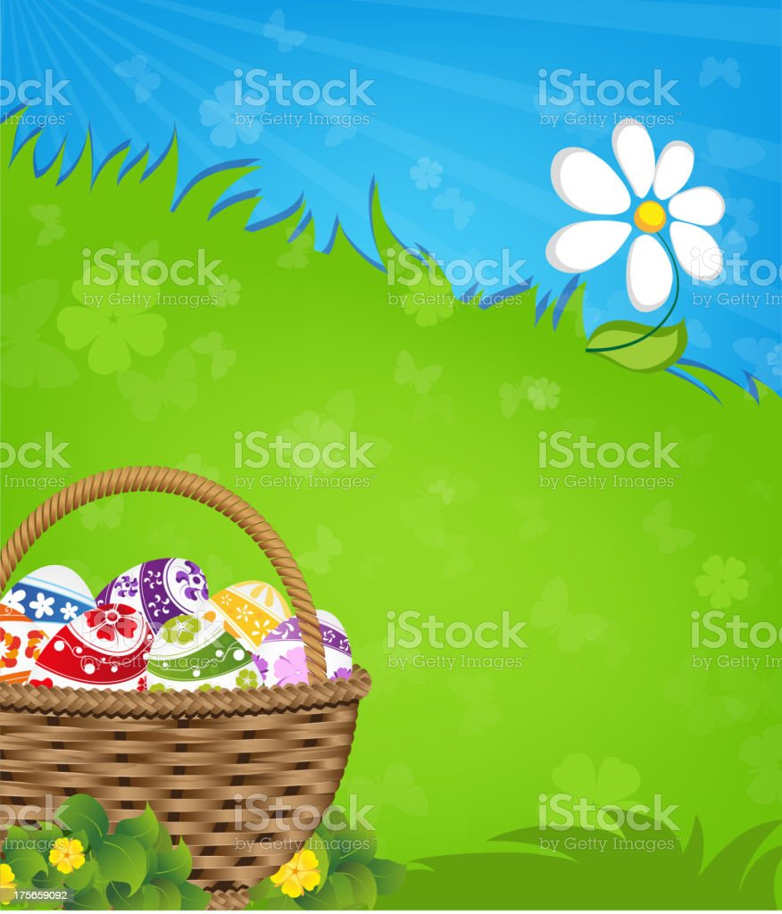 Easter basket and flower royalty-free stock vector art