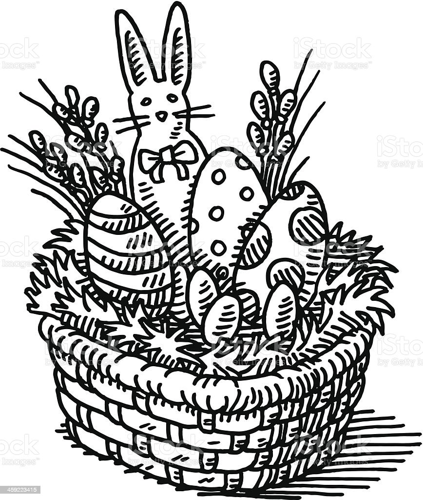 Easter Basket Drawing Royalty Free Easter Basket Drawing Stock Vector Art More Images
