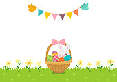 Easter,eggs,rabbit,bunny,grass,bunting flag,bird,holiday,event,nature,flower,season,background,illustration,greeting card