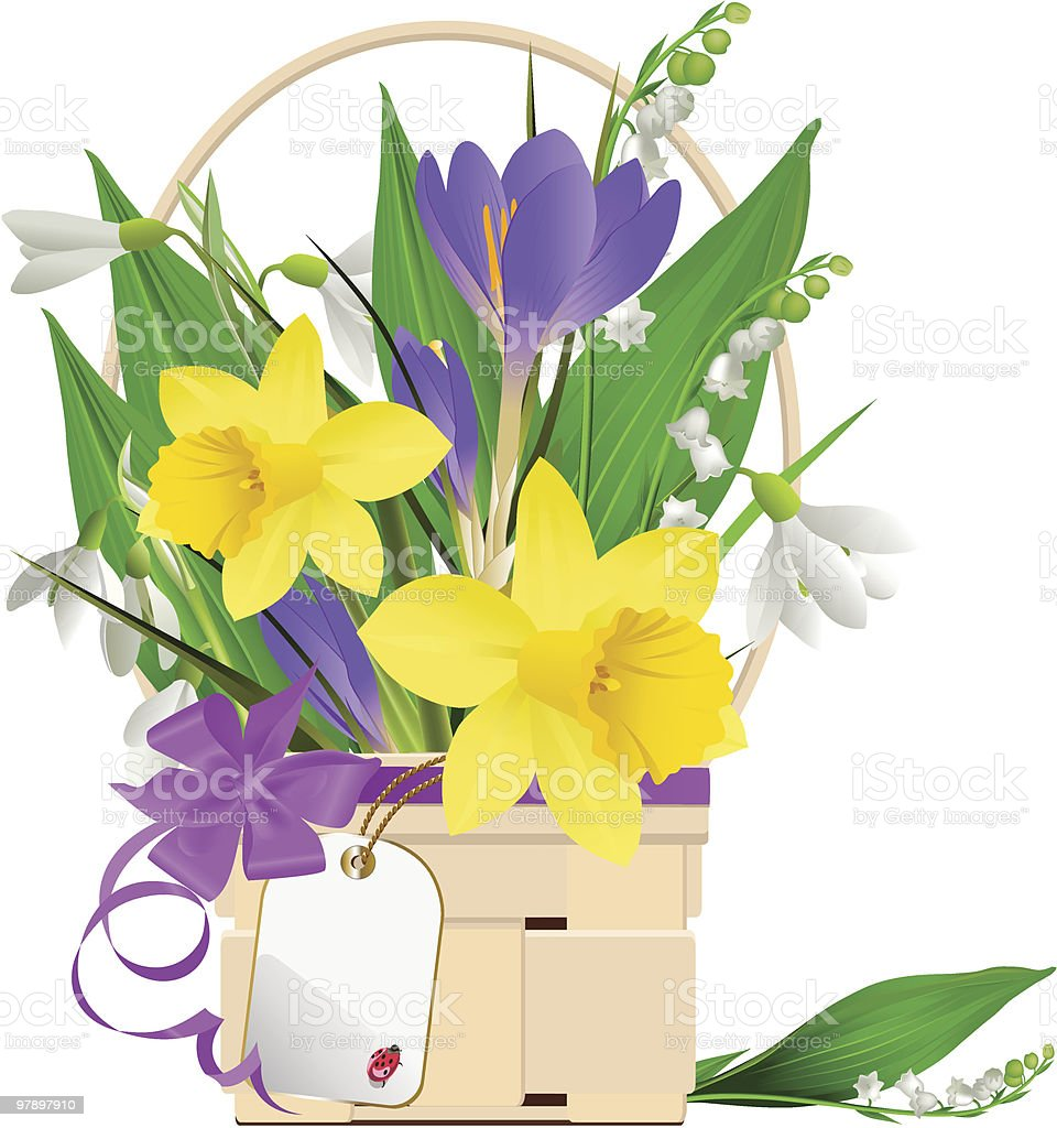Easter basket with flowers and rabbit. royalty-free easter basket with flowers and rabbit stock vector art & more images of animal
