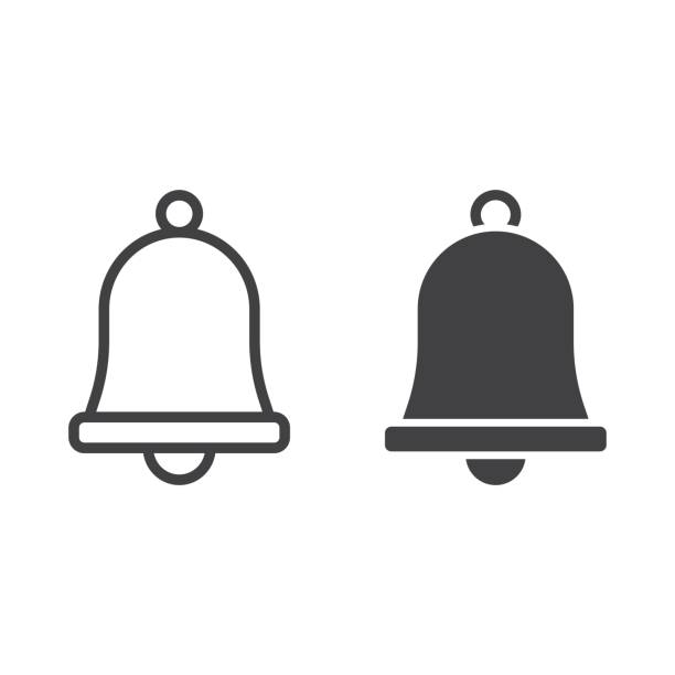 Easter bell line and glyph icon, easter and holiday, jingle sign vector graphics, a linear pattern on a white background, eps 10. vector art illustration