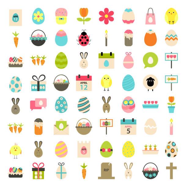 stockillustraties, clipart, cartoons en iconen met easter big flat styled icons set over white - chicken bird in box