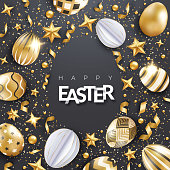 Easter vector black background with realistic decorated golden eggs, ribbons, stars, confetti and text. Egg frame shape. Holiday poster, flyer, banner, greeting card