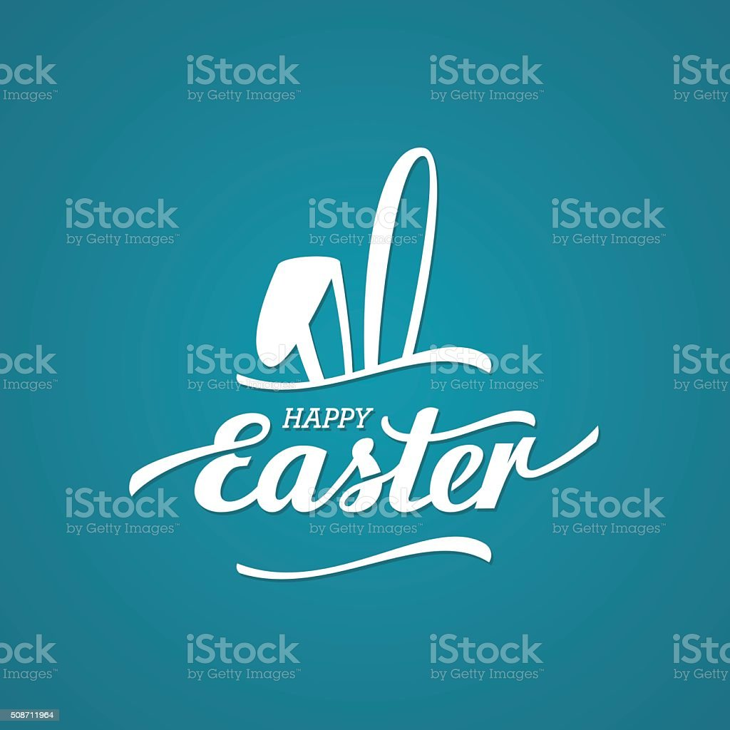 Easter black rabbit vector art illustration