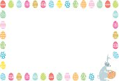 EPS 10 Vector illustration of Easter border with eggs and the Easter bunny.
