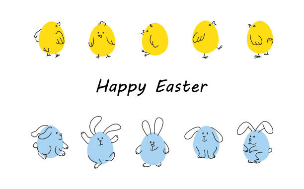 Easter borders with funny bunnies and chicks Easter horizontal borders with funny cute chickens and rabbits, Flat vector illustration bird borders stock illustrations
