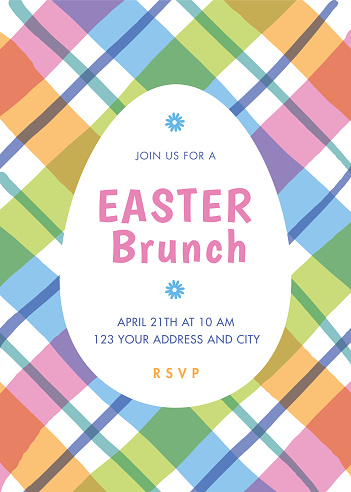 Easter Brunch invitation template with stripes.