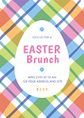 Easter Brunch invitation template with stripes. stock illustration