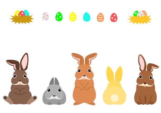 イースターバニーとカラフルな卵 ベクターアートイラスト