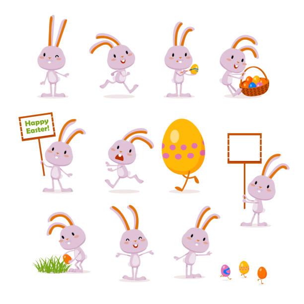osterhasen und eier. eine reihe von niedlichen emotionale zeichen. elemente für das festliche design. vektor-illustration - hase stock-grafiken, -clipart, -cartoons und -symbole