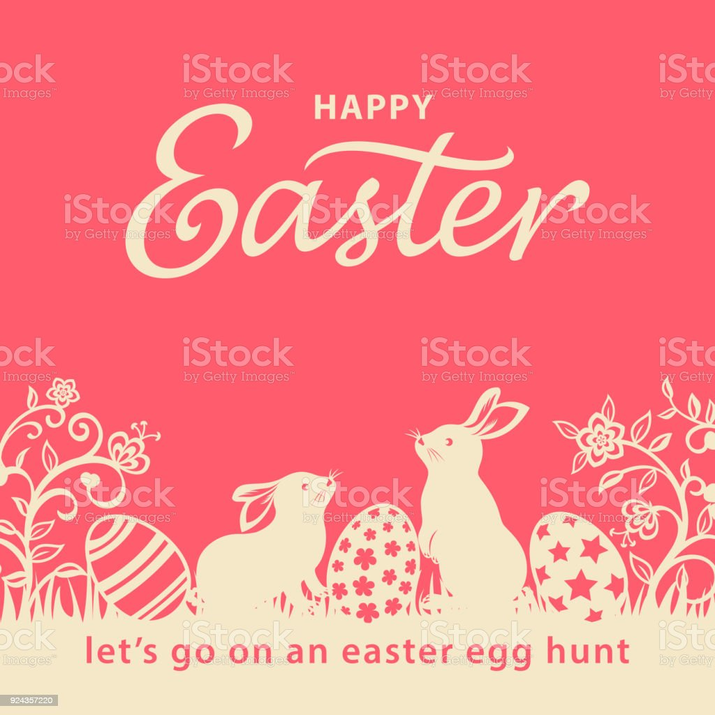 Easter Bunnies and Eggs Flyer vector art illustration