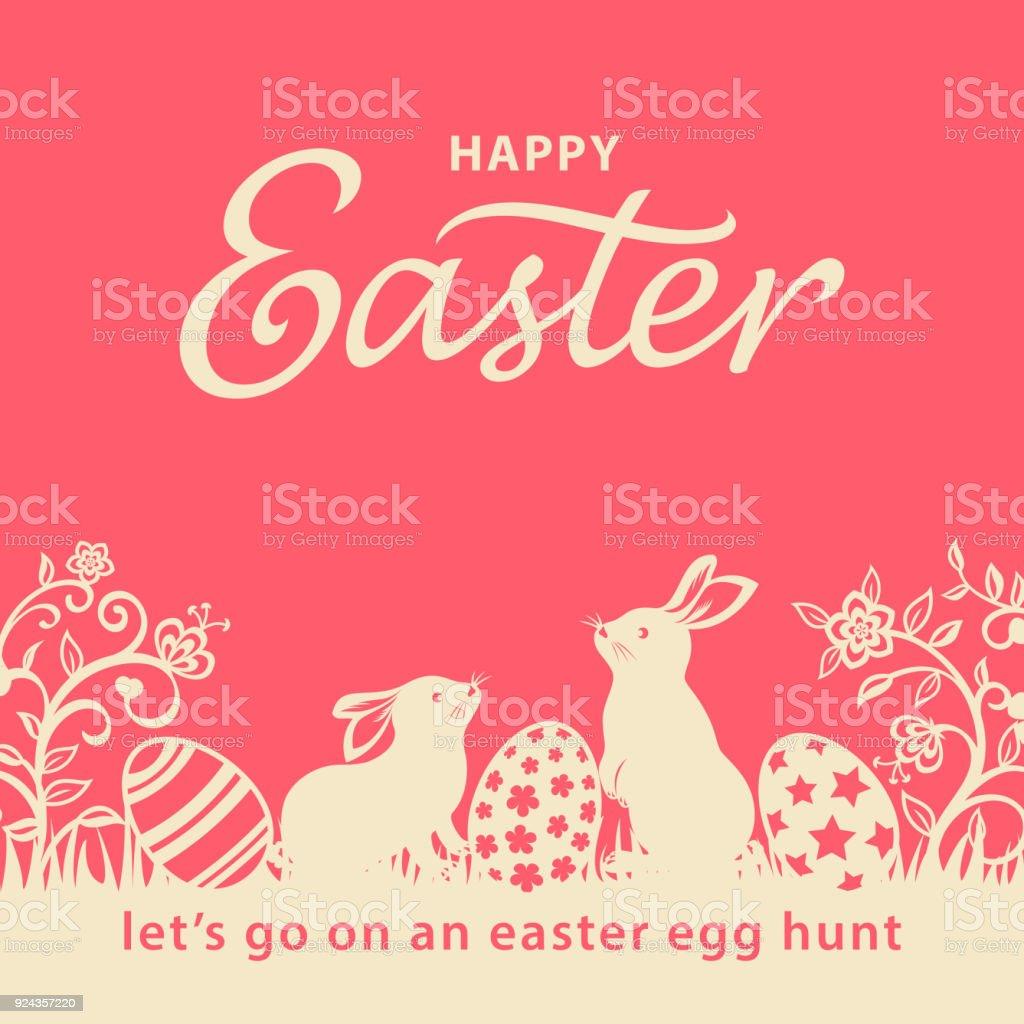 Lapins de Pâques et oeufs Flyer - Illustration vectorielle