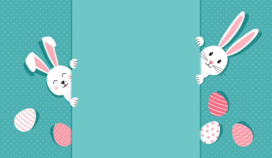 Easter bunnies and eggs greeting card. Rabbit on polka dot turquoise background. Vector