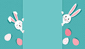 Easter bunnies and eggs greeting card. Rabbit on polka dot turquoise background. Vector illustration
