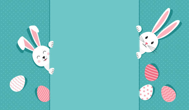 Easter bunnies and eggs greeting card. Rabbit on polka dot turquoise background. Vector Easter bunnies and eggs greeting card. Rabbit on polka dot turquoise background. Vector illustration easter stock illustrations
