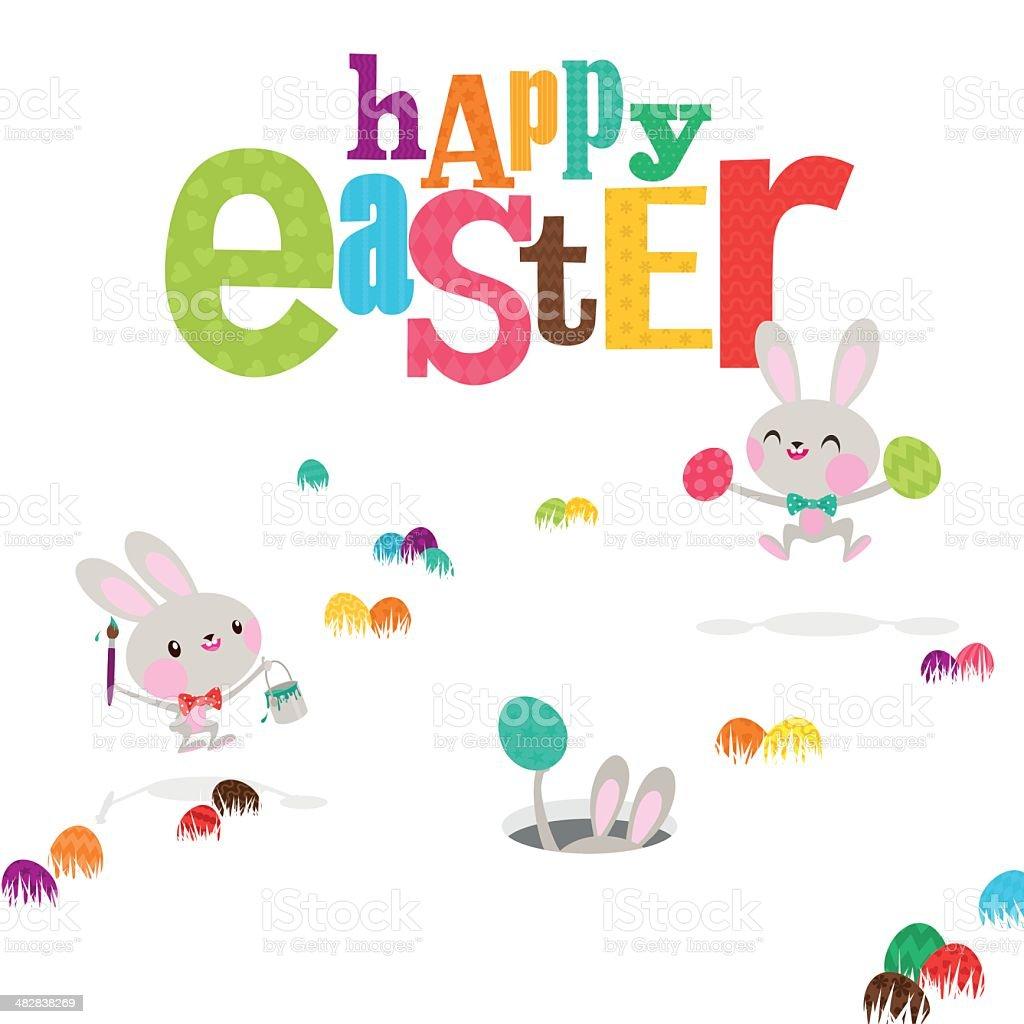 Easter bunnies egg happy cute bunny rabbit paint invitation illustration royalty-free stock vector art