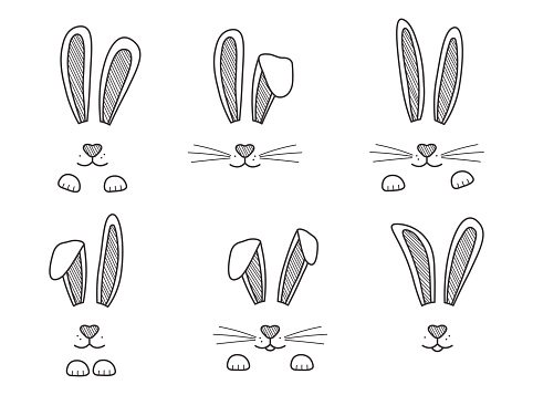 Easter bunnies hand drawn, face of rabbits. Black and white ears and muzzle with whiskers, paws. Elements for design greeting cards. Vector