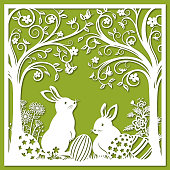 Easter Bunnies Paper-cut Art