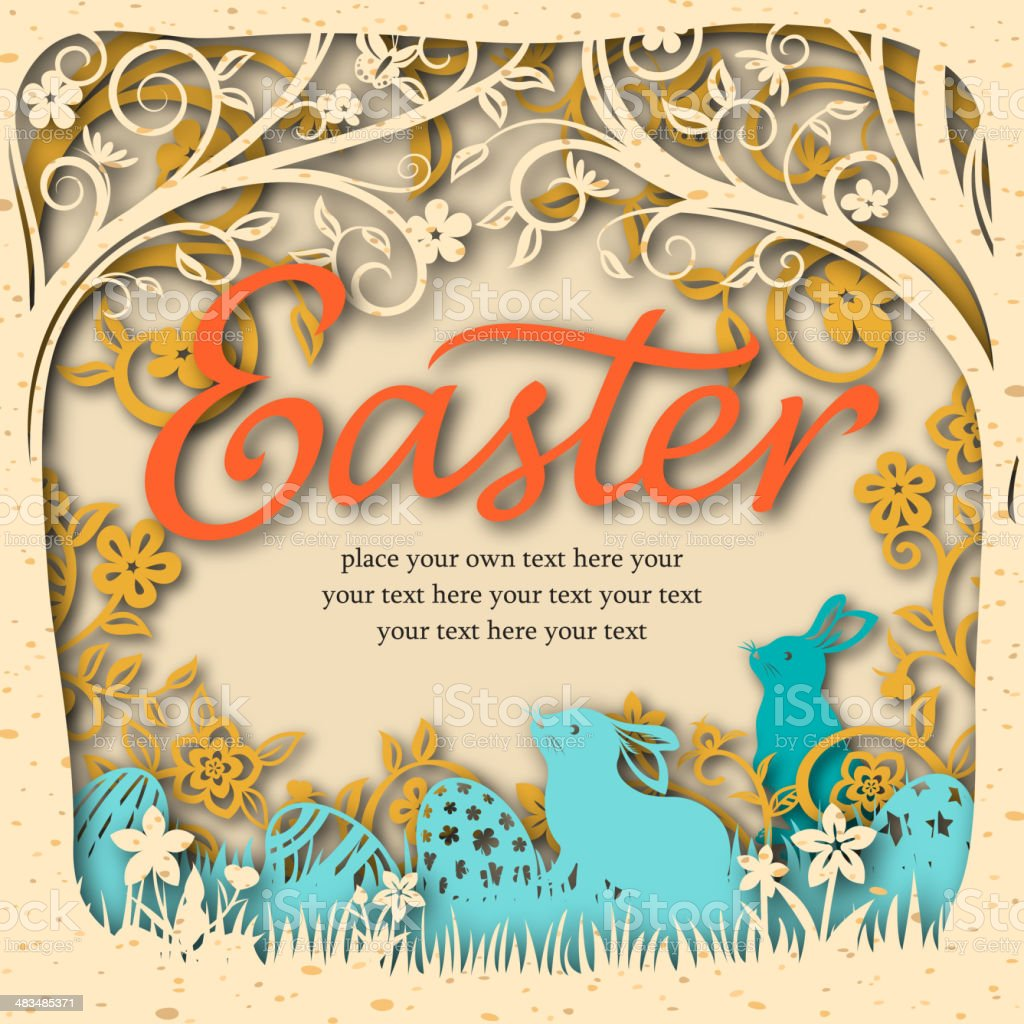 Easter Bunnies Paper-cut Art vector art illustration