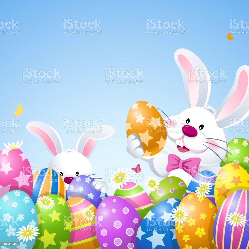 Easter Bunnies Playing Easter Egg Hunt vector art illustration