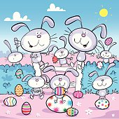 Easter bunnies with Easter eggs.