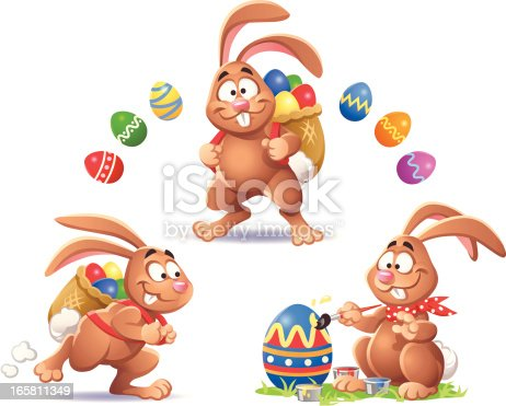 Illustration of three funny easter bunnies and easter eggs isolated on white. EPS8, fully editable and all labeled in layers.