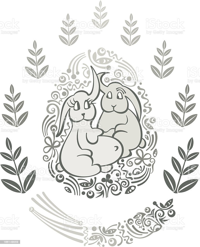 Easter Bunnies royalty-free stock vector art