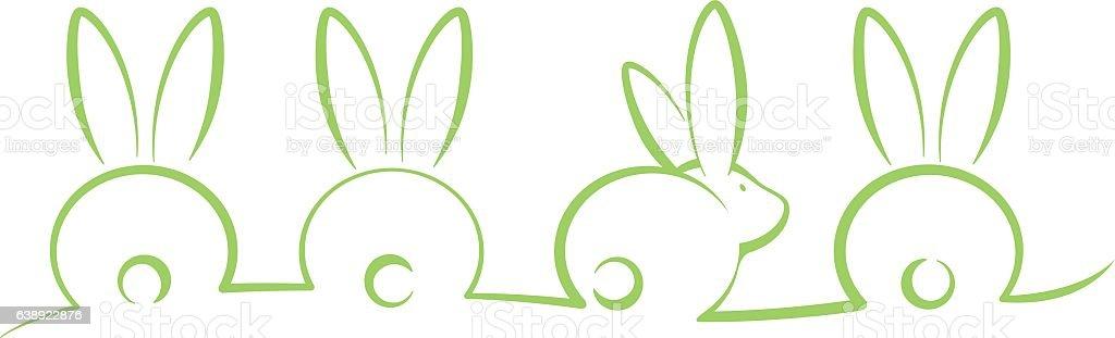 easter bunnies vector art illustration