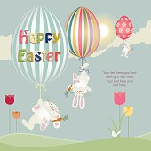 Three Easter Bunnies floating away with balloons with space for your text.