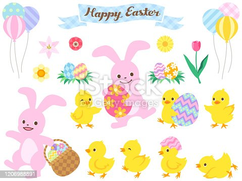 This is an illustration set of bunny and chicks (walking side by side with a basket containing Easter eggs, holding Easter eggs).