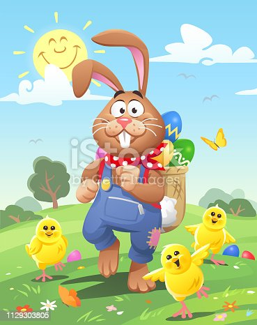 Vector illustration of a cute little Easter bunny, wearing blue trousers and a neckerchief, with a backpack full of easter eggs, walking in the meadow on a sunny day. He is surrounded by cute little chicks.