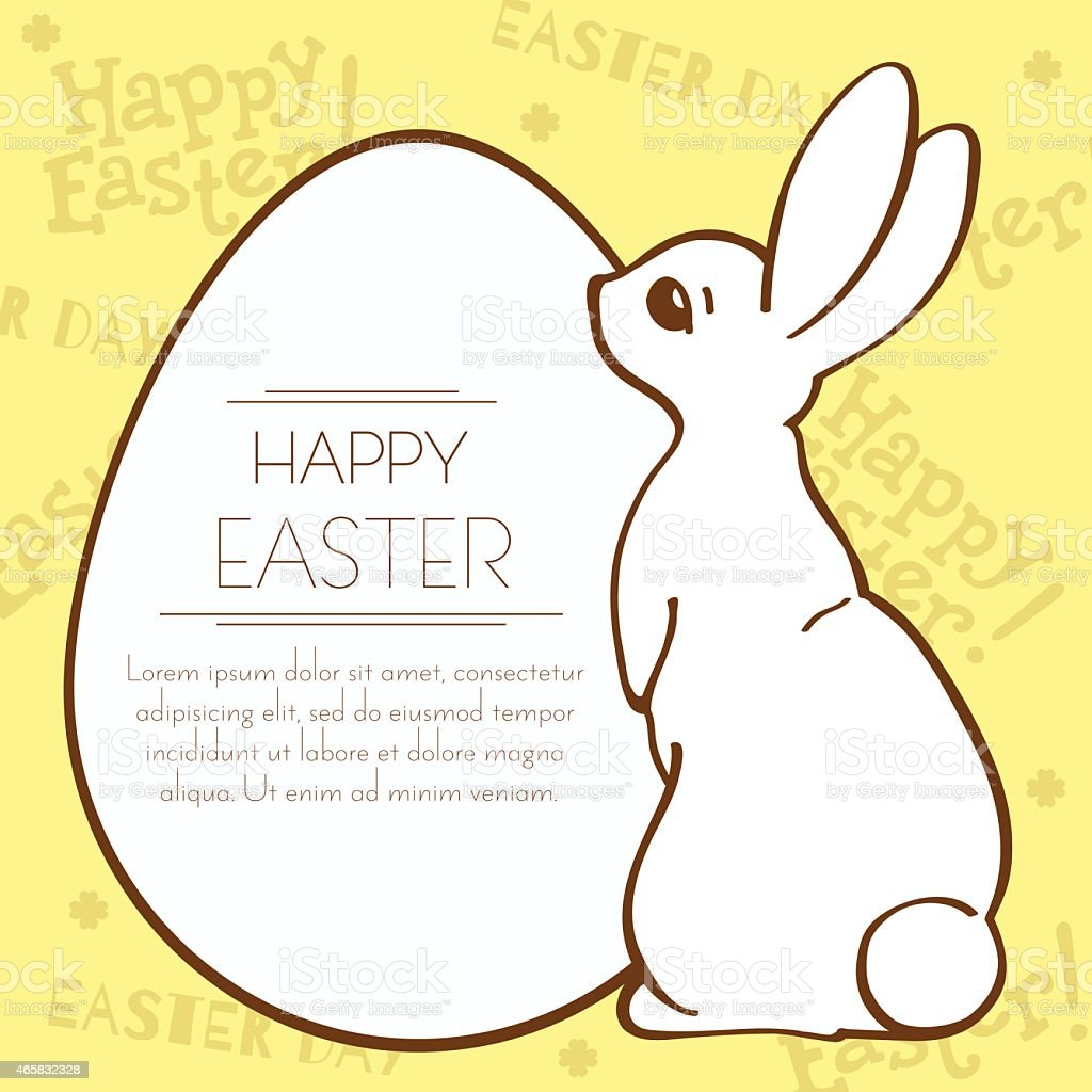 Easter Bunny And Egg Holiday Template Postcard stock vector art – Easter Postcard Template