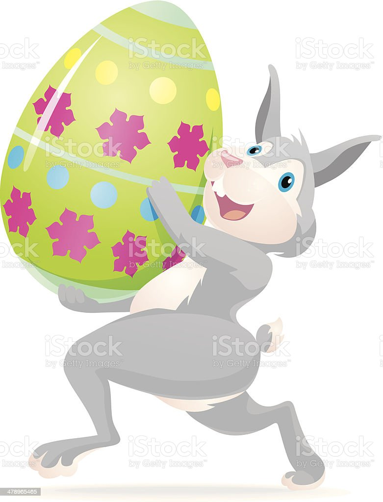Easter Bunny and Egg vector art illustration