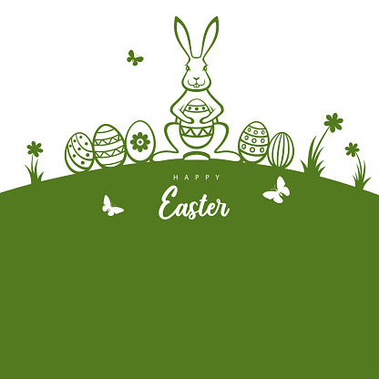 Easter bunny and eggs greeting card.
