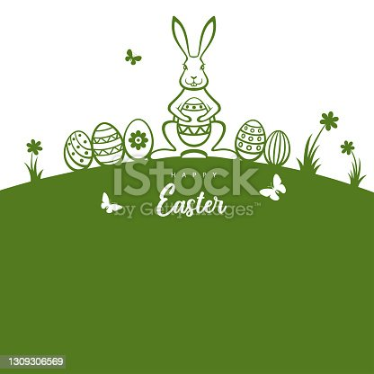 istock Easter bunny and eggs greeting card. 1309306569