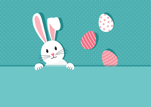 Easter bunny and eggs vector greeting card. Cute rabbit on paper background. Cartoon character on vintage banner