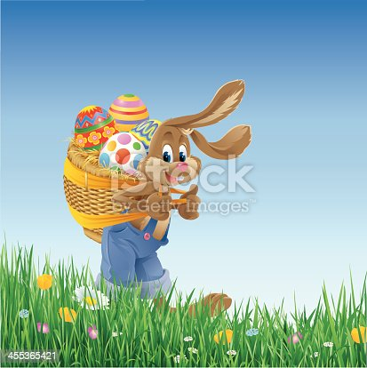 Vector illustration of an Easter Bunny carrying a basket with Easter Eggs on his back walking through grass with flowers. Includes AI8-eps, AI8, PDF and high-res JPG.