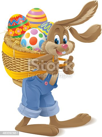 Vector illustration of an Easter Bunny carrying a basket with 4 eggs in it. Includes AI8-EPS, AI8, PDF, PNG and highres JPG (30cm high, 300 dpi)